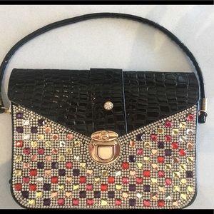 Handbags - Faux croc and crystal wristlet